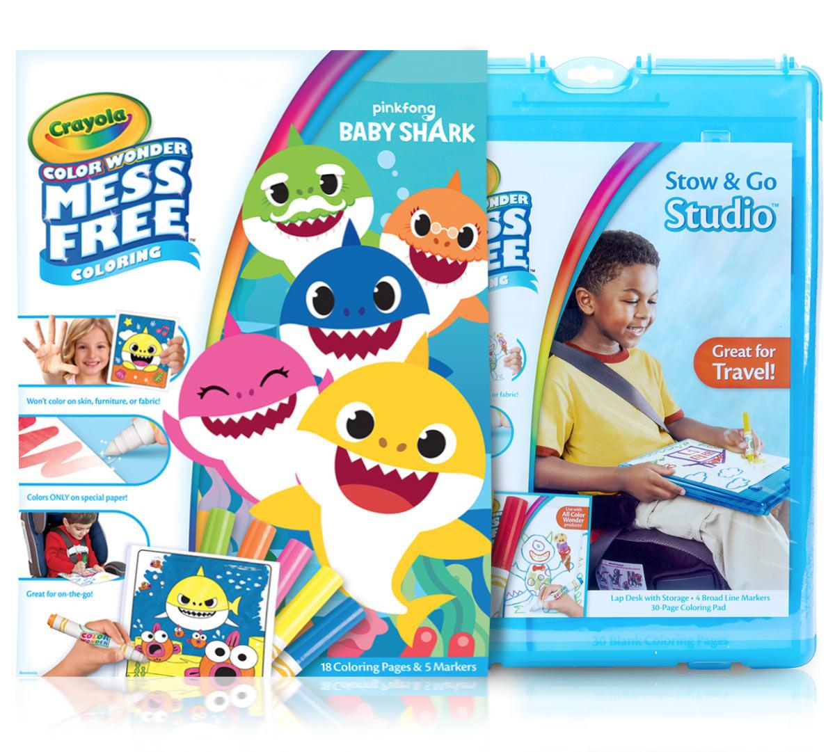 Color Wonder Mess Free Baby Shark Stow Amp Go Crayola Com