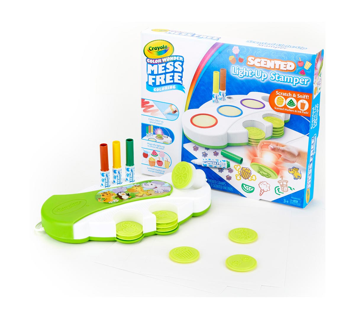 New Crayola Color Wonder Mess Free Light-Up Stamper Creative Set /& Pens Official