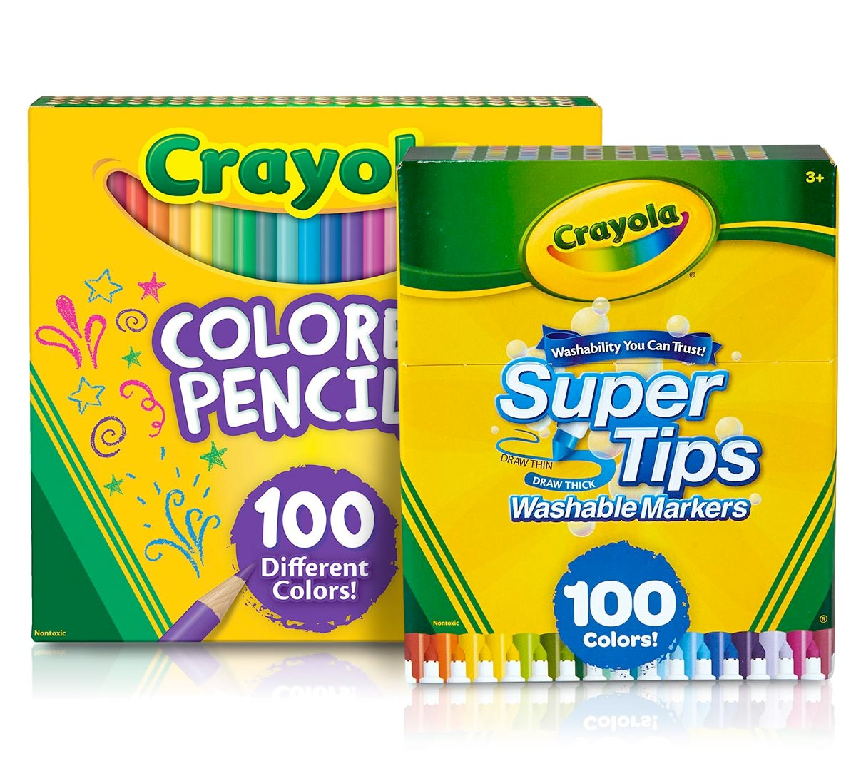 100 Super Tips Markers 100 Colored Pencils Crayolacom Crayola