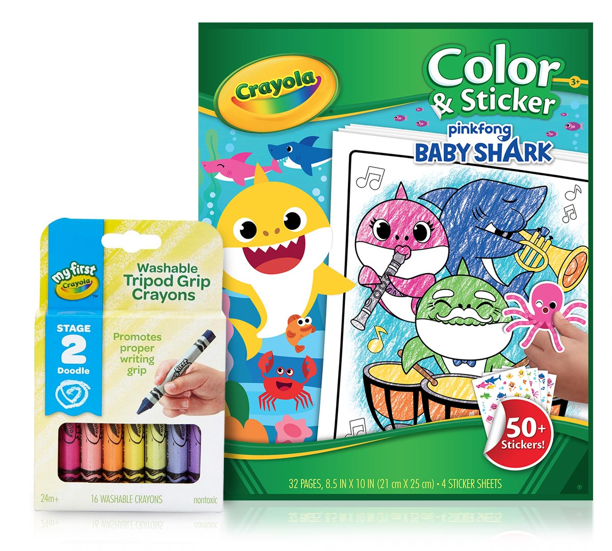Baby Shark Coloring Set with Triangle Crayons | Crayola.com | Crayola