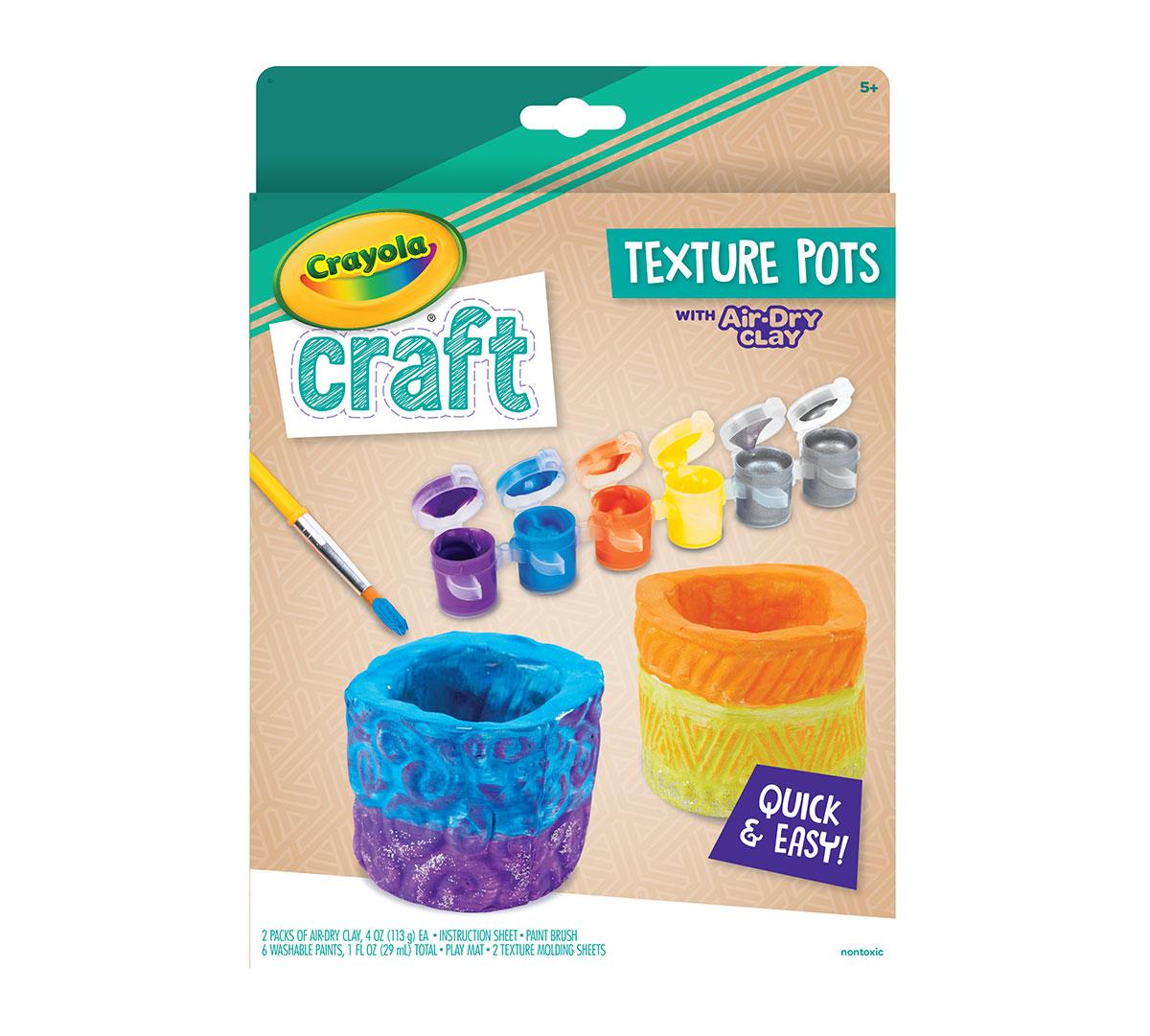 Textured Pots Craft Kit Air Dry Clay Craft Crayola Com Crayola