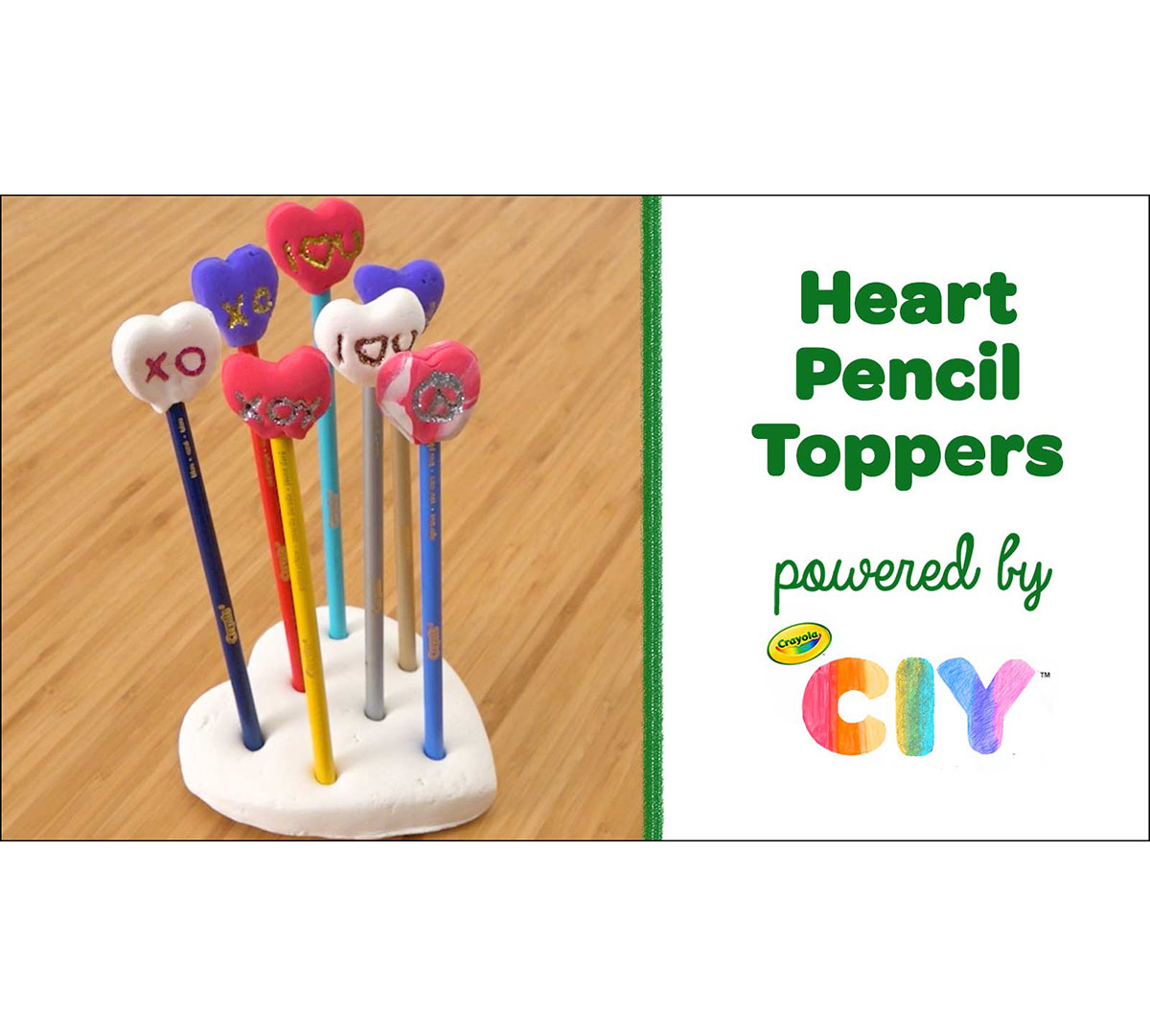 Valentine's Day Craft Kit for Heart Pencil Toppers supplies