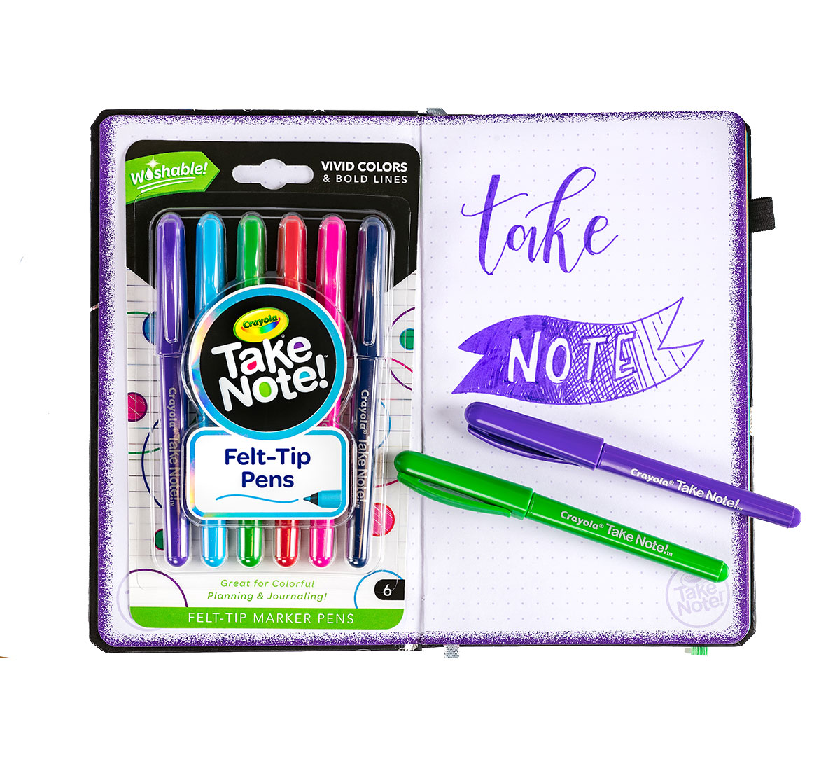Take Note Washable Felt Tip Pens, 6 Count Out of Package